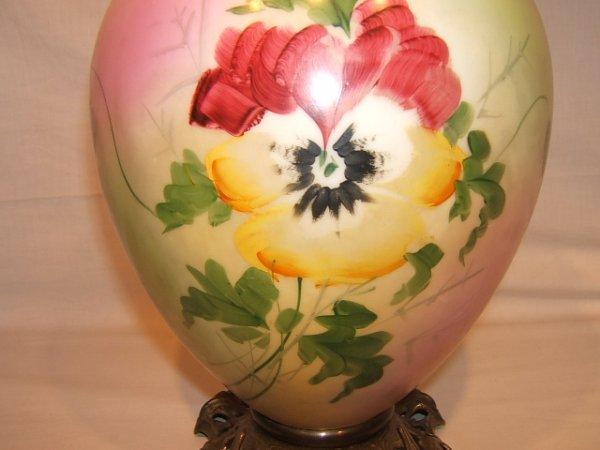59: Antique Victorian Hurricane Lamp with Flower Design - 4