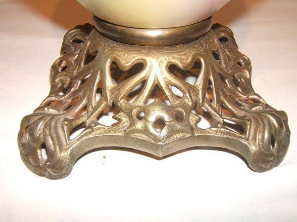 59: Antique Victorian Hurricane Lamp with Flower Design - 5