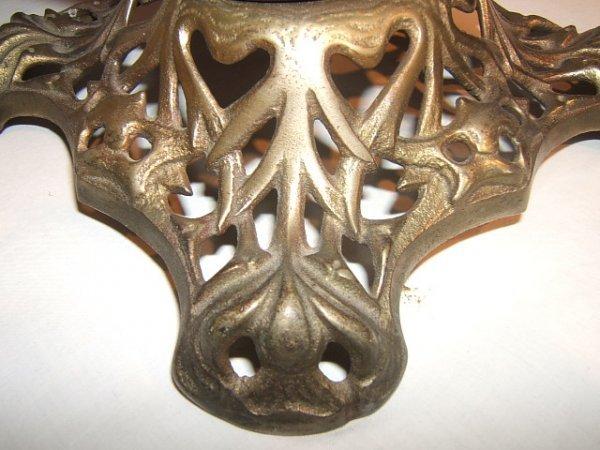 59: Antique Victorian Hurricane Lamp with Flower Design - 6