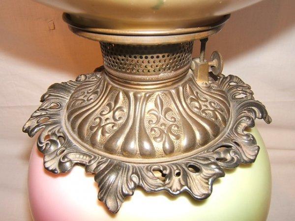 59: Antique Victorian Hurricane Lamp with Flower Design - 7