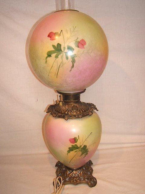 59: Antique Victorian Hurricane Lamp with Flower Design - 8
