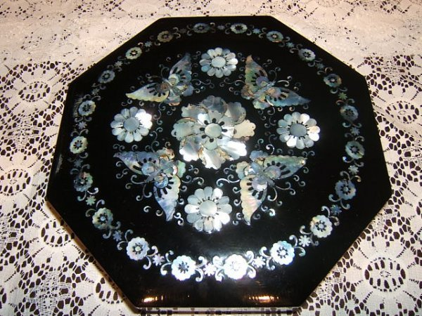 219: Black Lacquered Jewelry Box with Butterflies