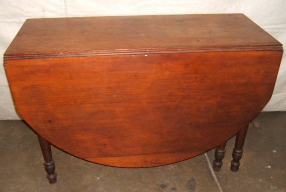 1: Antique Primitive 6 Leg Drop Leaf Table