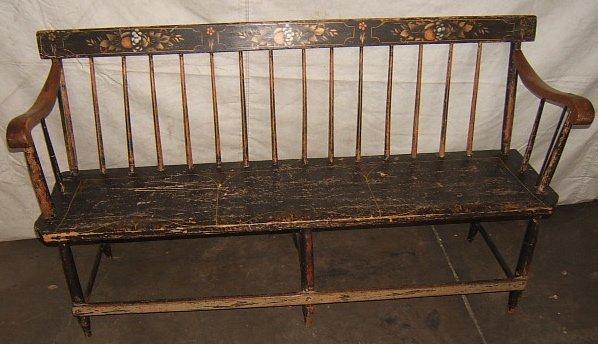 3: Antique Primitive Painted Bench