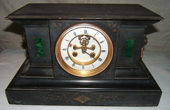 13: Antique Slate Mantel Clock with Lions