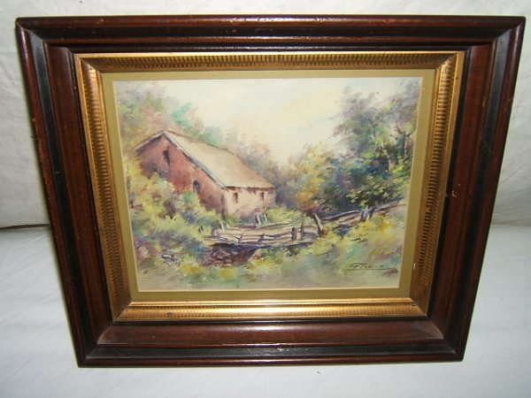 17: Antique Painting Cottage in the Woods
