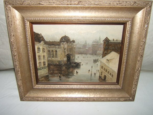 19: Signed Russian Painting Architectural Scene