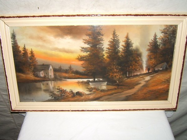 21: Antique Painting by Gunderson Campsite Sunset