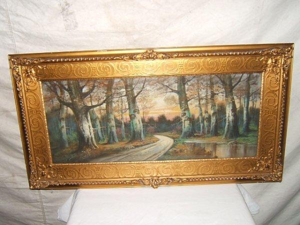 22: Antique Pastel Painting Landscape Scene
