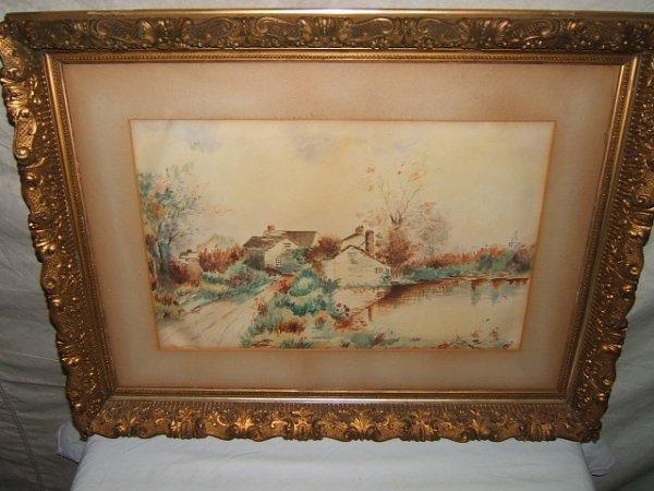 24: Antique Painting Farm & Lake Scene