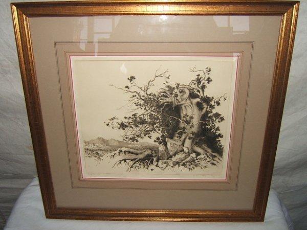 147: Painting by George Elbert Burr Etching AZ Tree