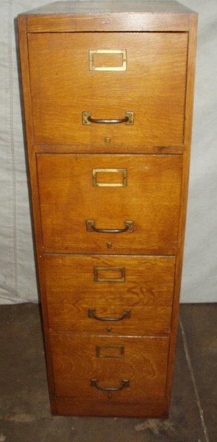 181: Antique Weis 4 Drawer Oak File Cabinet