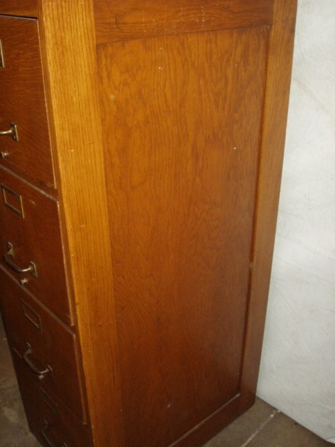 181: Antique Weis 4 Drawer Oak File Cabinet - 5