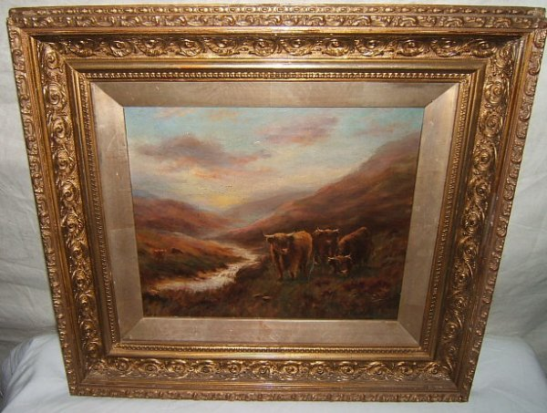 9: Antique Painting by H. Todd, Cows in Mountains