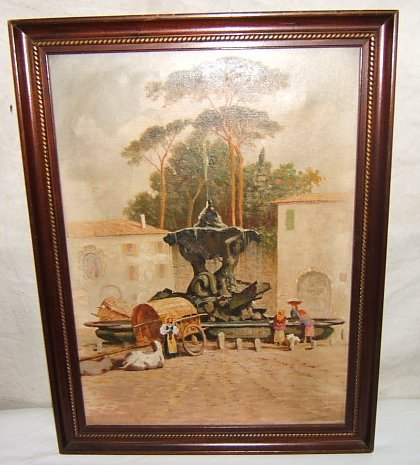 13: Antique Painting European Scene by Well