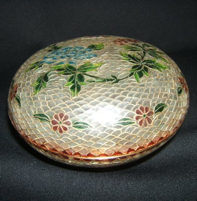 105: Antique Asian Enamel Fish Scale Container