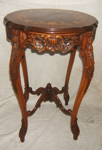 112: Antique French Style Marquetry Lamp Table