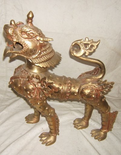 114: Asian Antique Bronze Foo Lion
