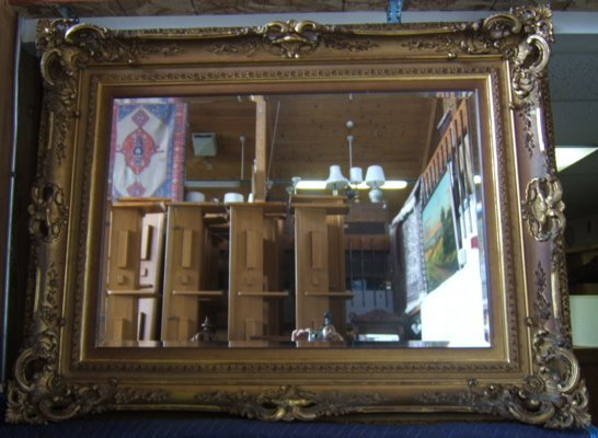 116: Antique Heavily Decorated Gold Gilt Mirror