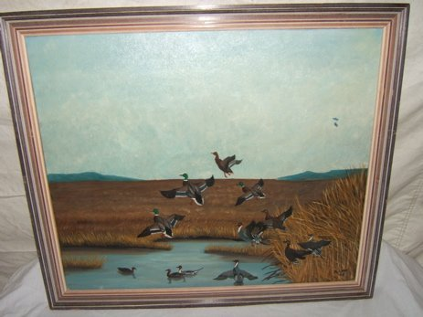 13: Painting by M. Lune, Ducks in Flight