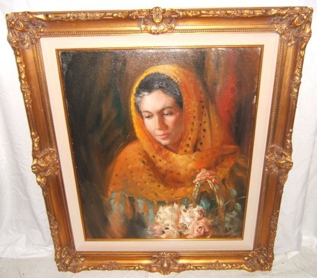 """17: Painting by Juharos """"Flower Maid in Mexico"""""""