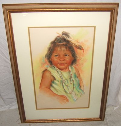"""18: Painting by A. Hooker Fay """"Indian Baby"""""""