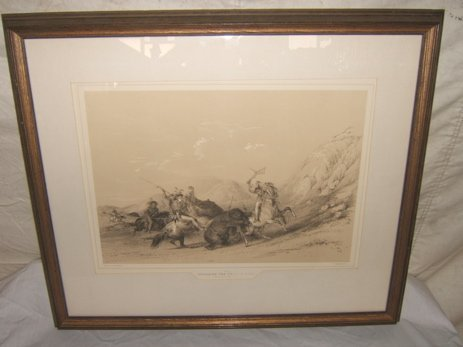 """19: Indian Picture by McGahey """"Attacking the Grizzly Be"""