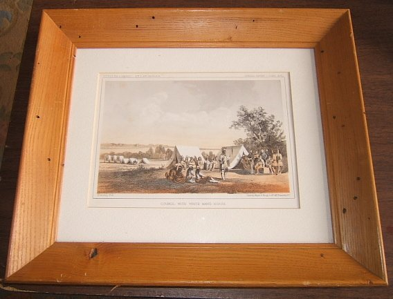 105: Council with White Man's Horse Lithograph