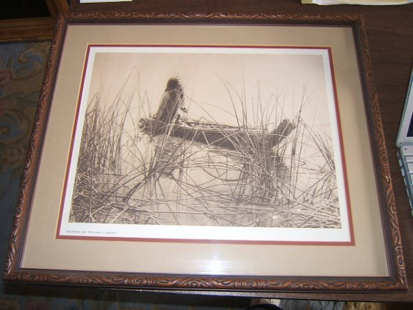 109: Canoe of Tules - Pomo Lithograph