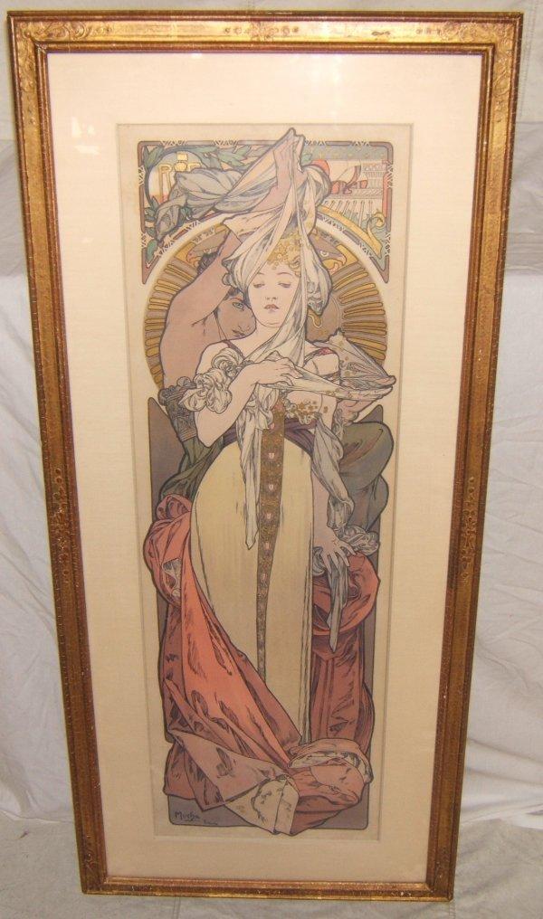170: Alphonse Mucha 1900 Lithograph Art Nouvea