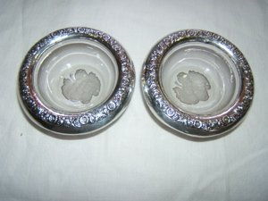 234: 2 Sterling Crystal Ash Trays