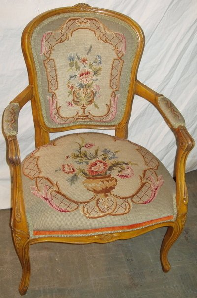 1: French Style Needle Point Tapestry Arm Chair