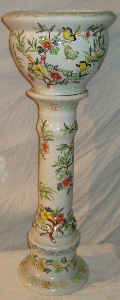 4: Hand Painted Jardinière Base and Bowl Planter