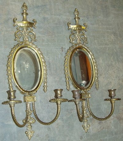 8: Brass Candle Sconces with Bevel Glass Mirror