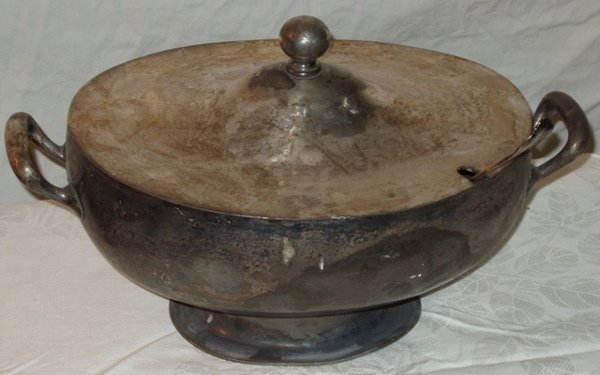 13: Cox Silver Plate Tureen with Ladle