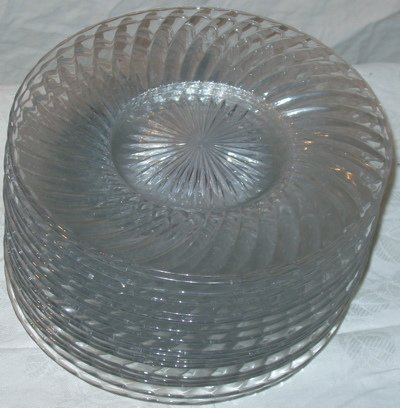 24: Heisey Crystal Plates, 17 pieces