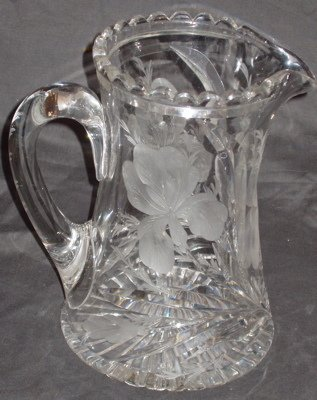 217: American Cut Glass Crystal Water Pitcher