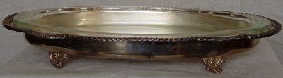 219: Silver Plate Footed Serving Tray and Glass Insert
