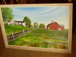 Country Scene Oil on Canvas Painting