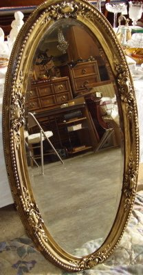407: Antique Bevel Oval Mirror