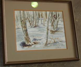 Snow Scene Water Color by Hal Rice