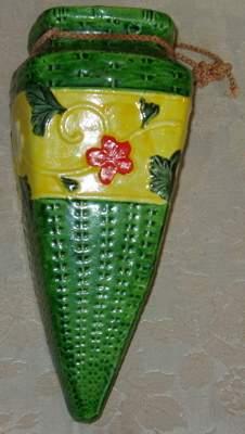 Japanese Hanging Wall Pocket Vase Pottery