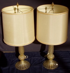 414: 2 Art Deco Venetian Glass Lamps