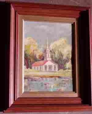 Oil Painting of Church Signed Elaine S. Michalsen