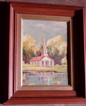 416: Oil Painting of Church Signed Elaine S. Michalsen