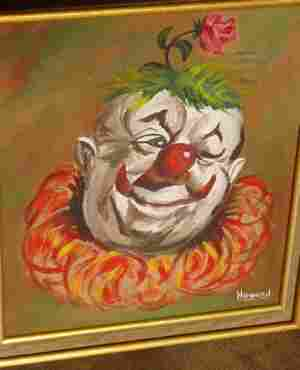 W.T. Howard 1969 Painting of a Clown