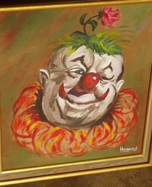 419: W.T. Howard 1969 Painting of a Clown