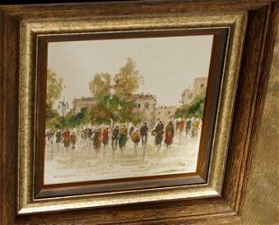 Street Scene in Paris Painting, Artist M. Maresca