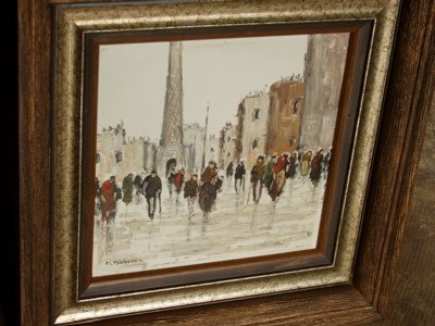 421: Street Scene in Paris Painting, Artist M. Maresca