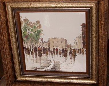 422: Street Scene in Paris Painting, Artist M. Maresca